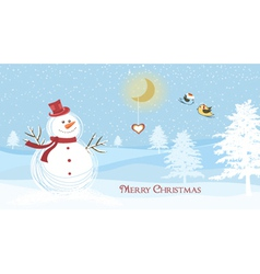 snowman with birds vector image vector image