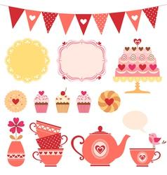 Valentine tea party vector image vector image