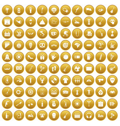 100 street festival icons set gold vector
