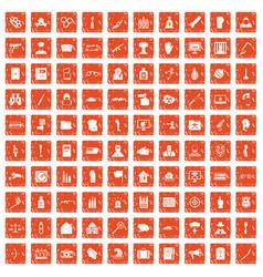 100 violation icons set grunge orange vector