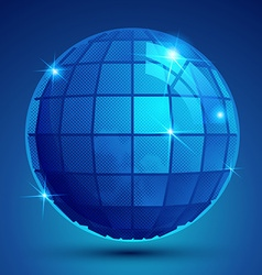 3d blue sphere with flashes shiny dotted vector