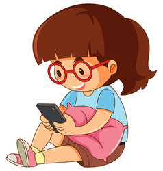 a girl playing phone on white background vector image