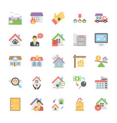 A pack of real estate flat icons vector
