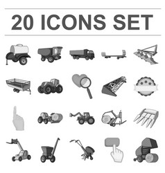 Agricultural machinery monochrome icons in set vector