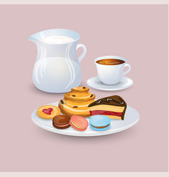 Appetizing plate with pastries and sweets a jug vector