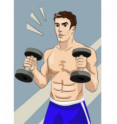 athletic man with dumbbells vector image