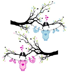 Baboy and girl clothes with birds on tree vector