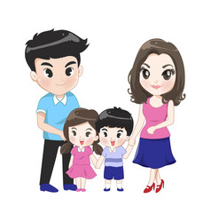 big family has parents son daughter vector image