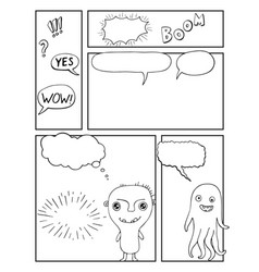 Blank comic book mock up with empty speech bubbles vector