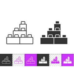 building block simple black line icon vector image