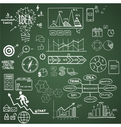 Business finance elements and icons doodle hand vector
