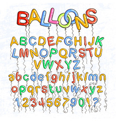 cartoon bubble font bubble letters with glint vector image