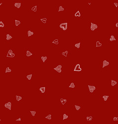 Chaotic red doodle hearts seamless pattern vector
