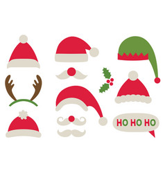 christmas party photo booth props - santa and elf vector image
