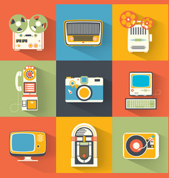 collection of vintage electronics vector image
