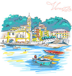 Colorful houses in vernazza ligury italy vector
