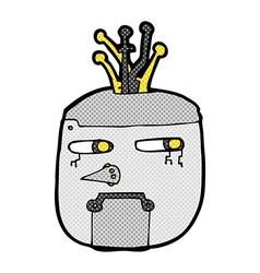 comic cartoon robot head vector image
