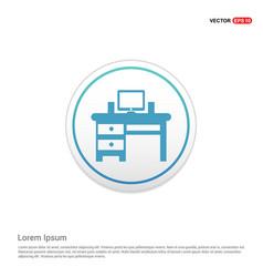 computer table icon - white circle button vector image