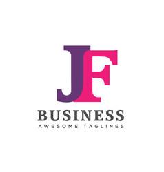 creative letter jf logo design elements vector image