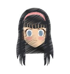 cute anime or manga girl icon image vector image