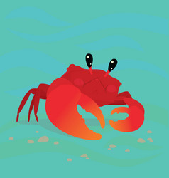 Cute crab in a cool pose underwater vector