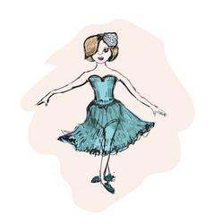 cute little ballerina doodle nursery vector image