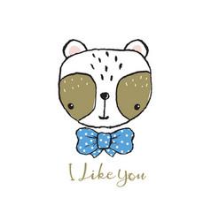 Cute panda portrait hand drawn lettering vector