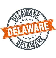 Delaware red round grunge vintage ribbon stamp vector