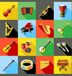 digital green music instruments vector image