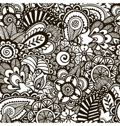 Doodle monochrome print Seamless background vector