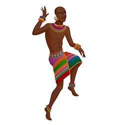 Ethnic dance of cartoon African man vector
