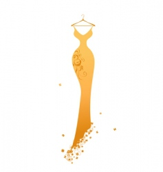 evening dress golden on hangers vector image