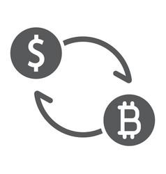 exchange glyph icon bitcoin and money vector image