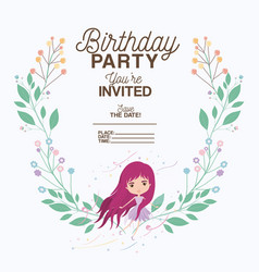 Fairy with floral decoration invitation card vector