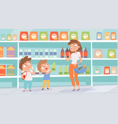 Family in grocery store mother son shopping vector
