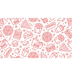Fast food seamless pattern with line icons vector