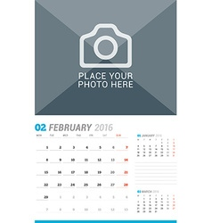 February 2016 Wall Monthly Calendar for 2016 Year vector