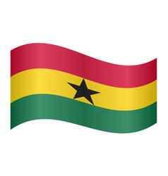 flag of ghana waving on white background vector image
