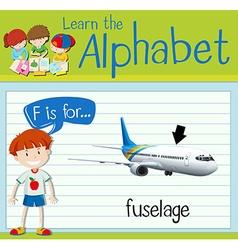 Flashcard letter F is flor fuselage vector