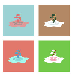 Flat icon design collection bush and puddle vector