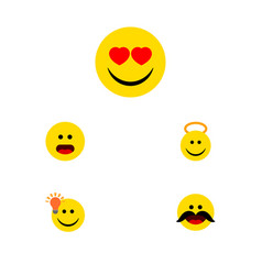 Flat icon emoji set of cheerful love angel and vector
