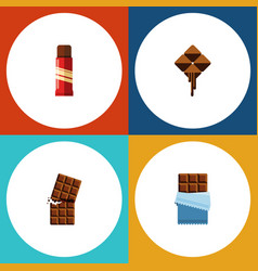 Flat icon sweet set of sweet delicious bitter vector