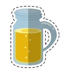 glass jar drink tasty bubble with cap - dot line vector image