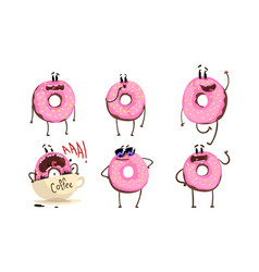 Glazed donuts cartoon characters collection funny vector