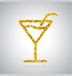 Golden cocktail flat icon cosmopolitan vector