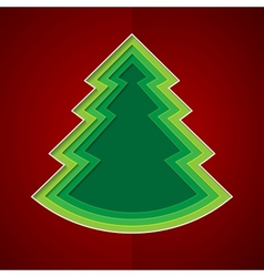 Green paper christmas tree on red background vector