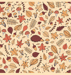 Hand drawn seamless pattern with autumn leaves vector