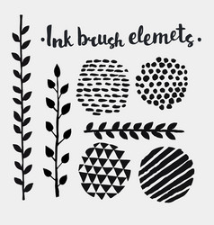 hand drawn vintage floral and spot elements vector image