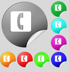 Handset icon sign Set of eight multi colored round vector