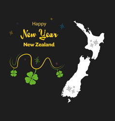 Happy new year theme with map of new zealand vector